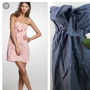 J.Crew Cara chambray strapless dress size M